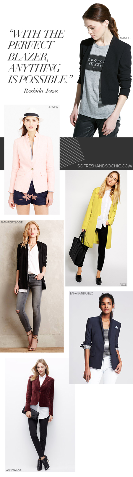 So Fresh & So Chic // Wardrobe Picks: The Blazer. See & shop my Top Picks for this super versatile piece! How many blazers do you own? #sofreshandsochic #womensfashion #mystyle