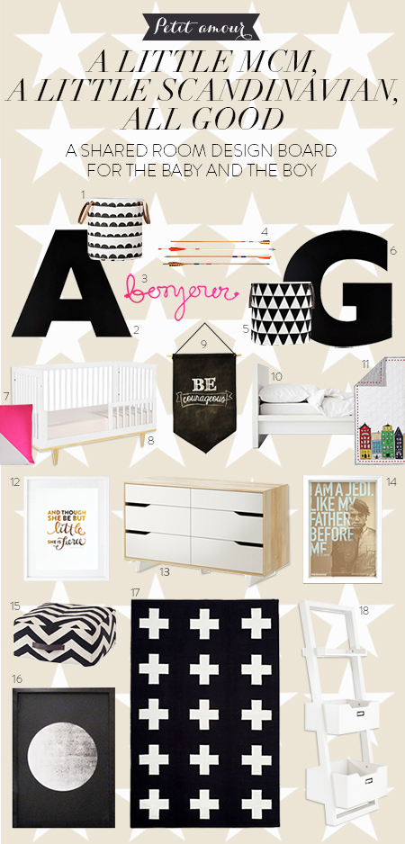 So Fresh and So Chic // Petit amour // MCM meets Scandinavian Style in this Modern Shared Room Design Board