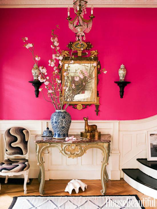 Hot pink entry way by designer Jonathan Berger.