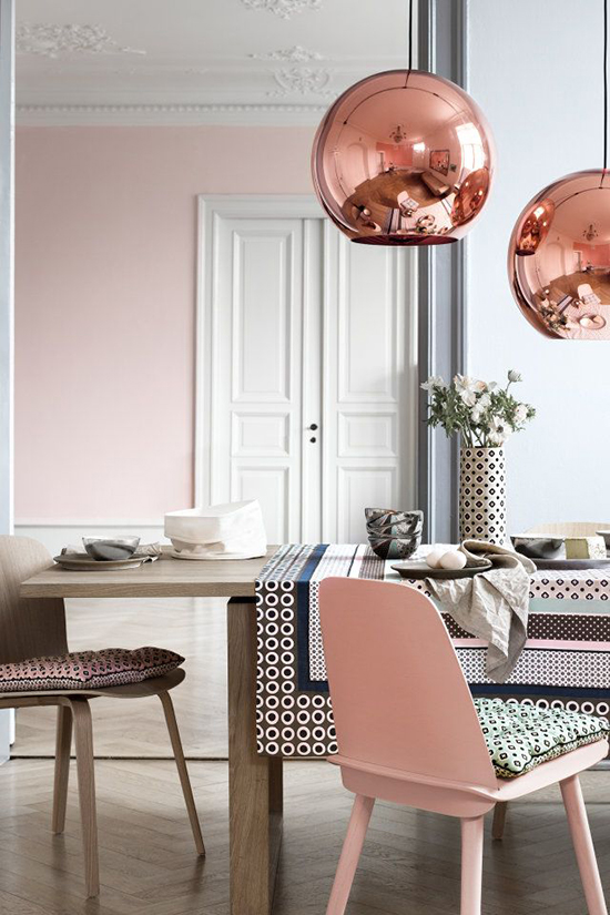 Bright and airy dining room - love the copper pendants and how well they play up against the pink wall in the background.