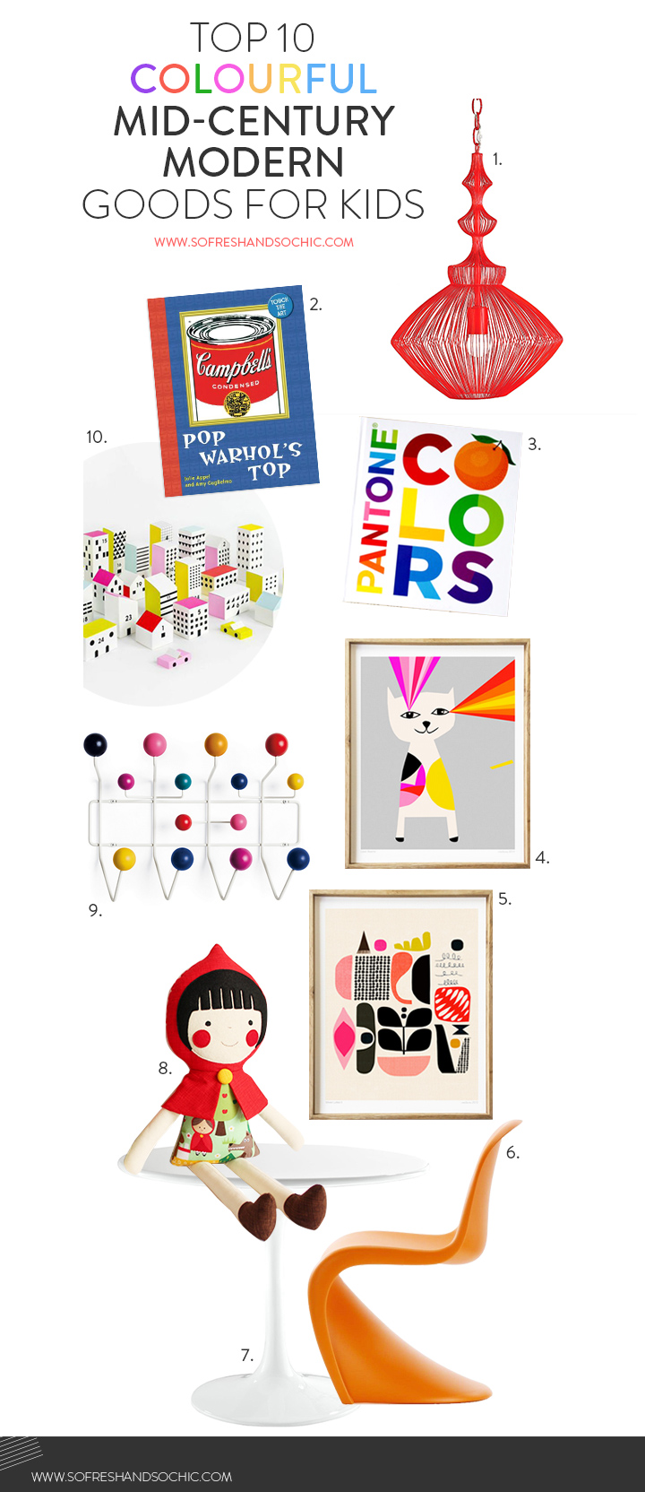 So Fresh and So Chic // Top 10 Colourful Mid-Century Modern GIfts for Kids #midcentyrymodern #giftsforkids #kidsroomdesign #homedecor