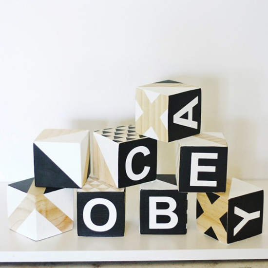 Monochrome modern wooden blocks from Babee & Me // Spotted on  sofreshandsochic.com