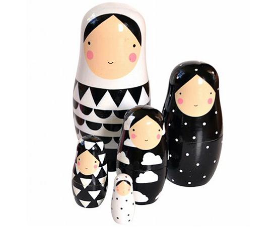 Black and white modern nesting dolls by Sketch Inc. via Design Life Kids. // spotted on Sofreshandsochic.com
