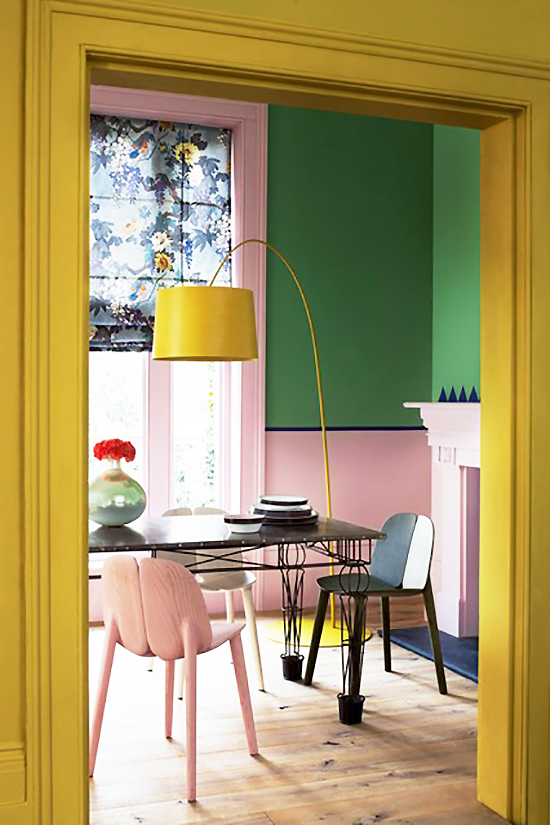 So Fresh & So Chic // For the Home // Yellow trim, pale pink under chair rail, bright green paint above chair rail in colourful dining room