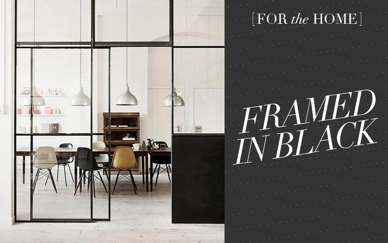 Black doors and window frames - Interior design style via SoFreshandSoChic.com