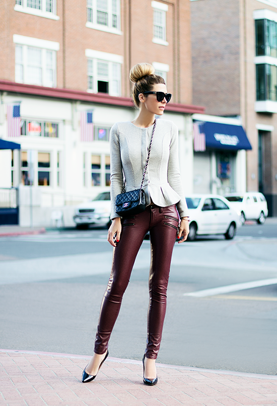 Via The Native Fox Spotted on SoFreshandSoChic.com : M skinny leather pants, offwhite peplum jacket, high bun, and a Chanel quilted purse.