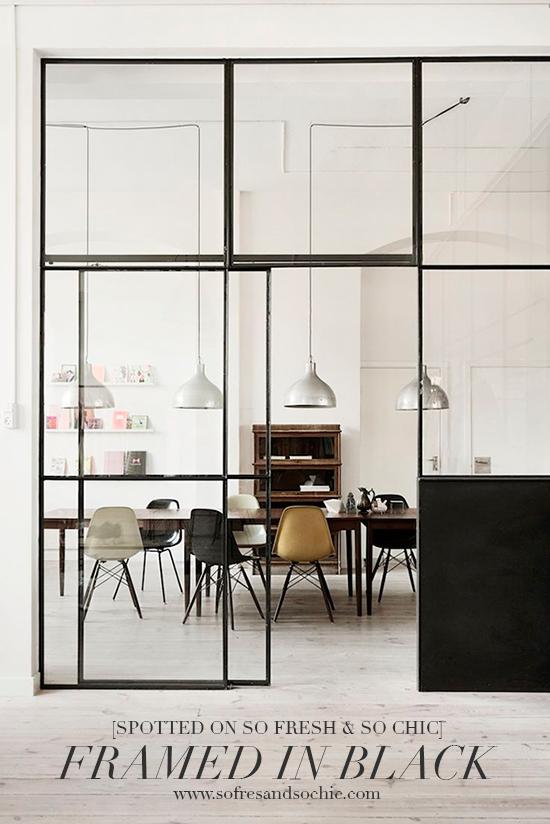 Stylish interiors: Black window and door frames via SoFreshAndSoChic.com //  #sofreshandsochic #blackframes #interiordesign // Framed in Black