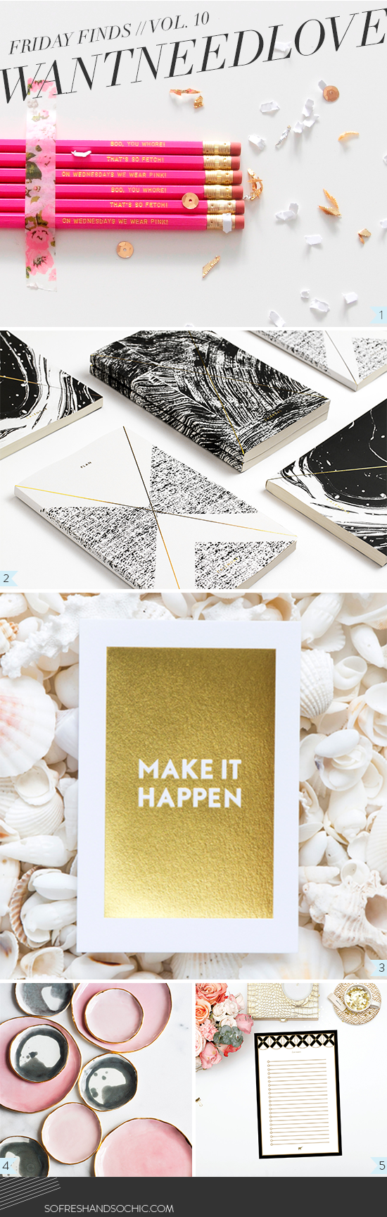 Gold Foil Desk Accessories from So Fresh & So Chic #sofreshandsochic #goldfoil #trending