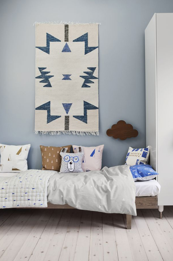 Spotted on So Fresh & So Chic // Ferm Living Kilim rug on wall // www.sofreshandsochic.com #sofreshandsochic