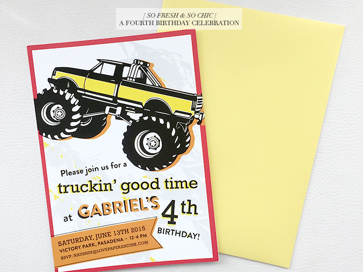So Fresh & So Chic // A Colourful Fourth Birthday Celebration // Monster Truck Invitations