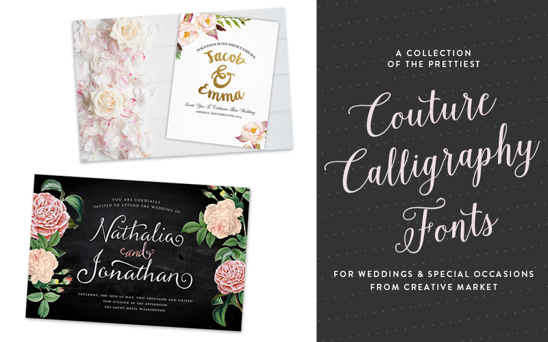 So Fresh & So Chic loves Creative Market! The prettiest couture calligraphy fonts. #fonts #design #sofreshandsochic www.sofreshandsochic.com