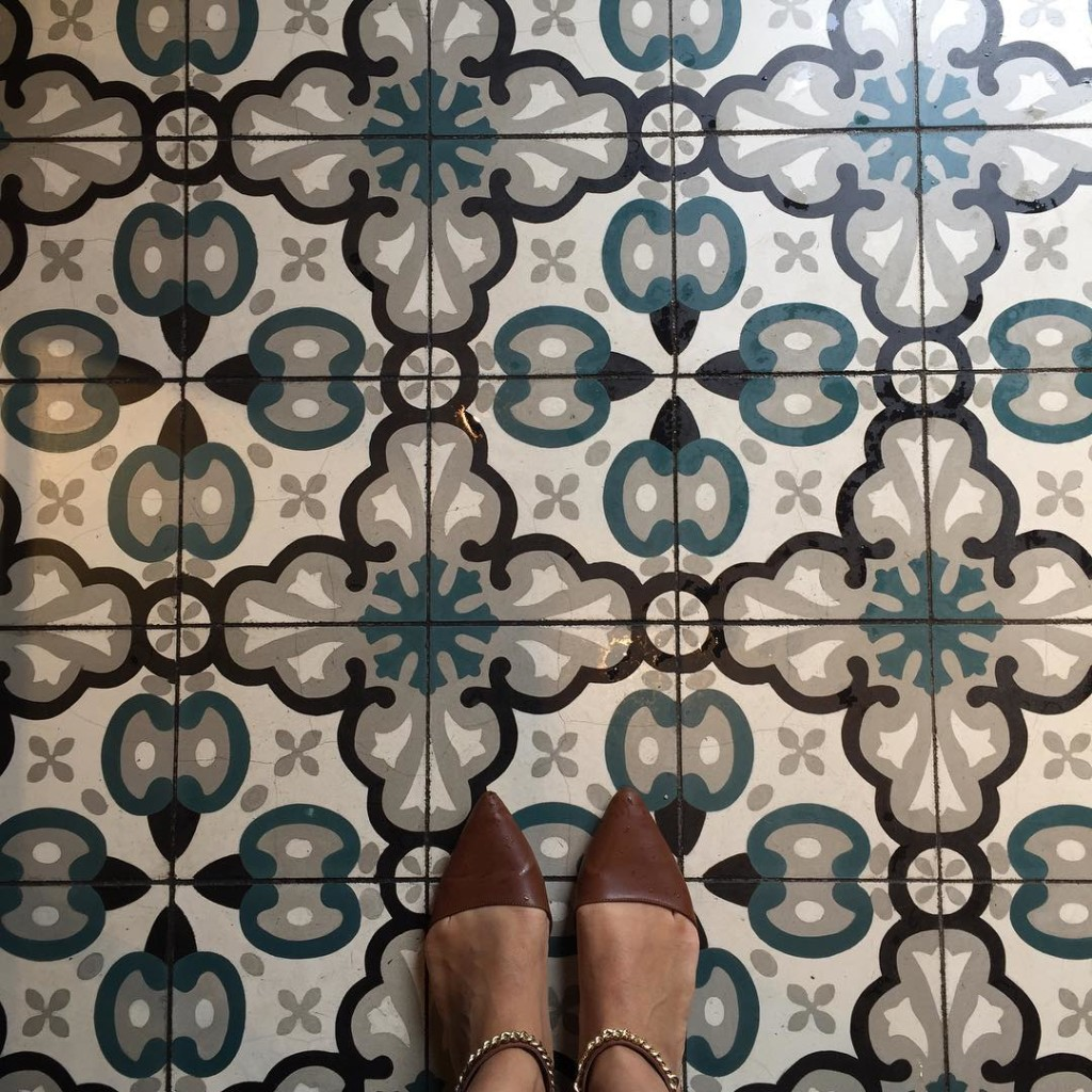 Lunch at Cluny in the Distillery District and I discovered the prettiest floors! (My flats are from Forever 21)