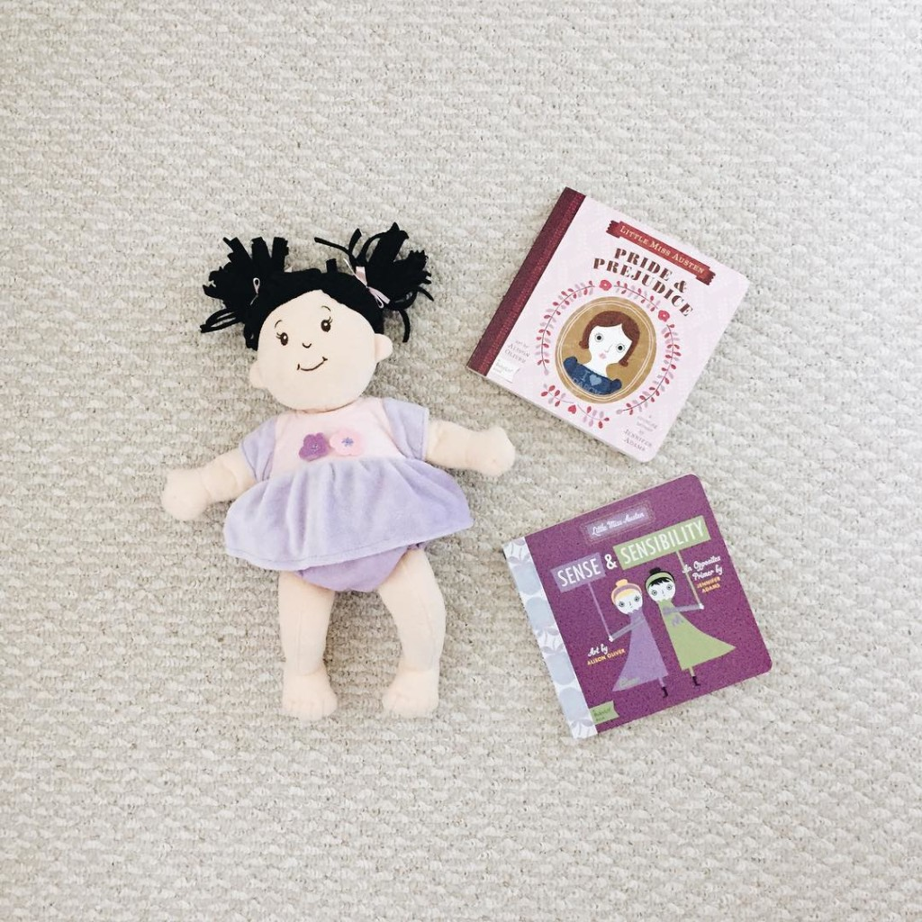 Where I also picked up these adorable BabyLit Jane Austen books and baby girl's new Manhattan Toys doll...