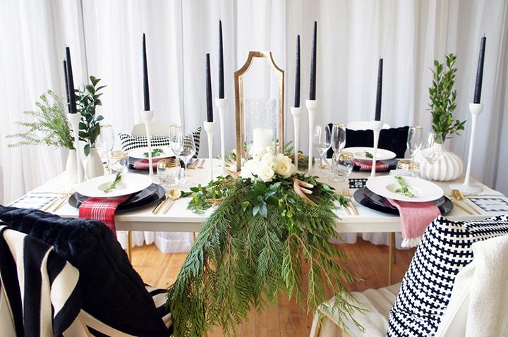 So Fresh & So Chic // How to Set a Modern Scandinavian Black and White Holiday Table #sofreshandsochic #blackandwhite #christmas #modern www.sofreshandsochic.com With Sara Baig Designs www.sarabaigdesigns.com