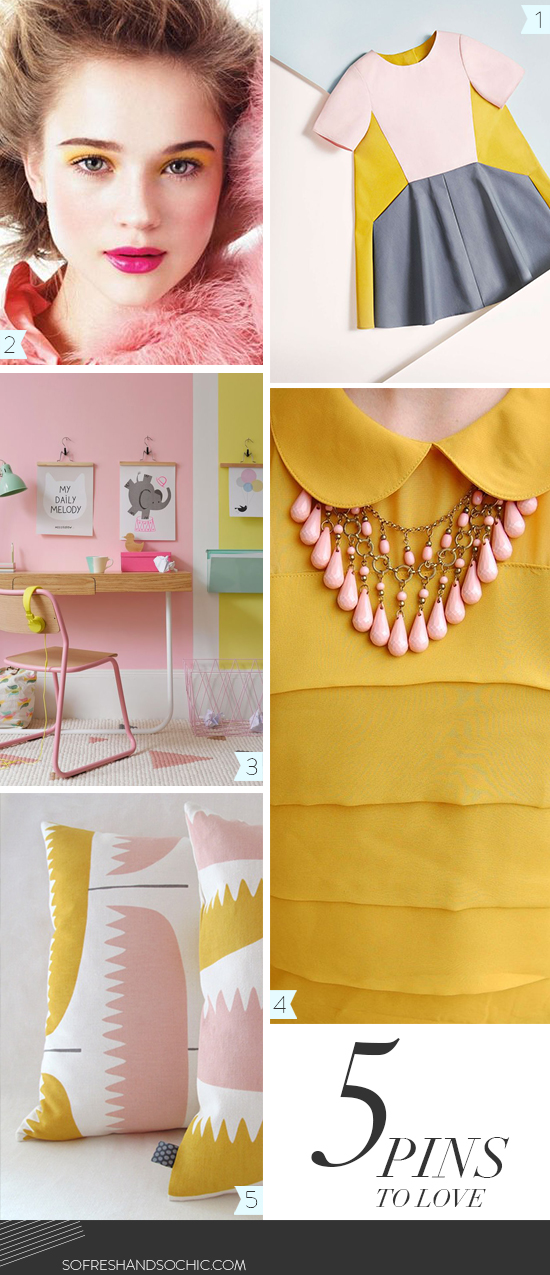 FOLLOW So Fresh & So Chic // A lifestyle and design blog // Inspiration board: Mustard Yellow and Blush Pink #yellowandpink