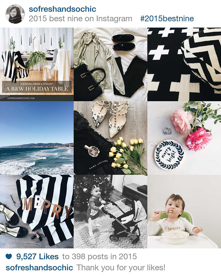Top 9 posts on Instagram for So Fresh & So Chic, a curated lifestyle, fashion and design blog. #sofreshandsochic #2015top9