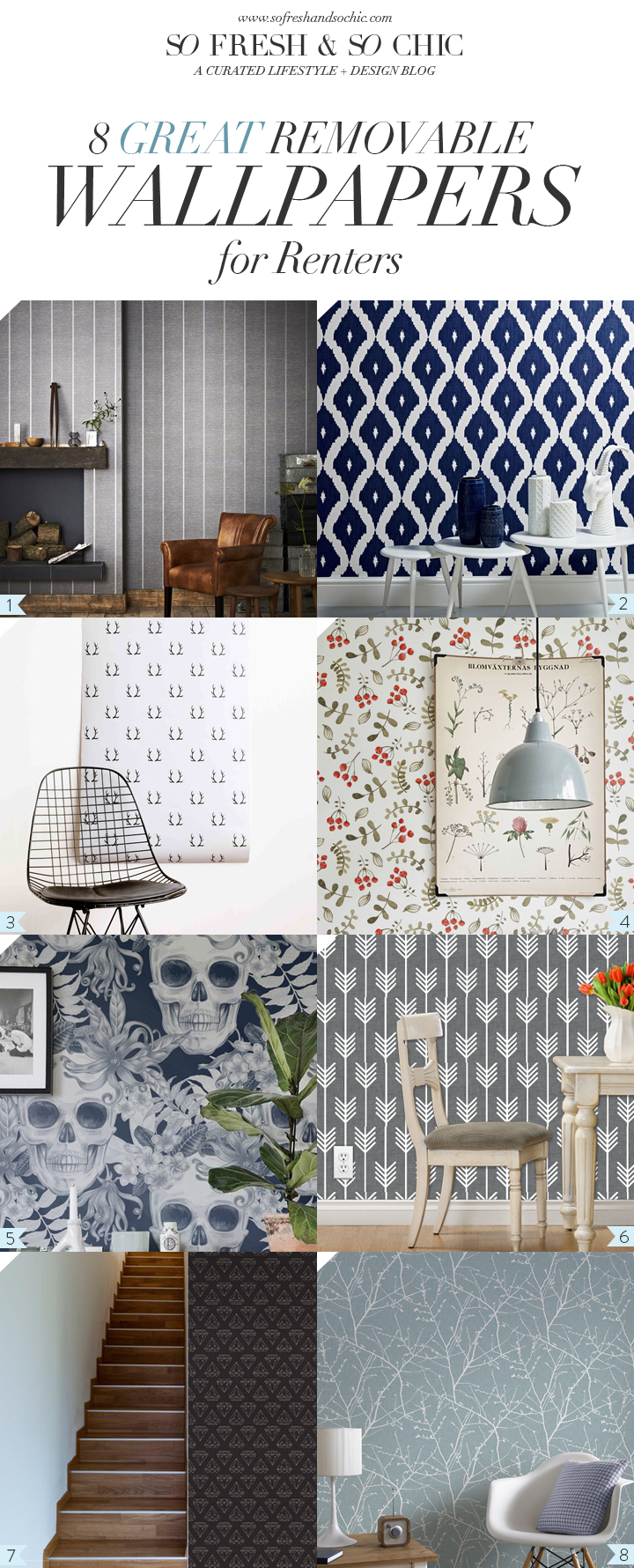 For the Home] 8 Great Removable Wallpapers for Renters - So Fresh ...