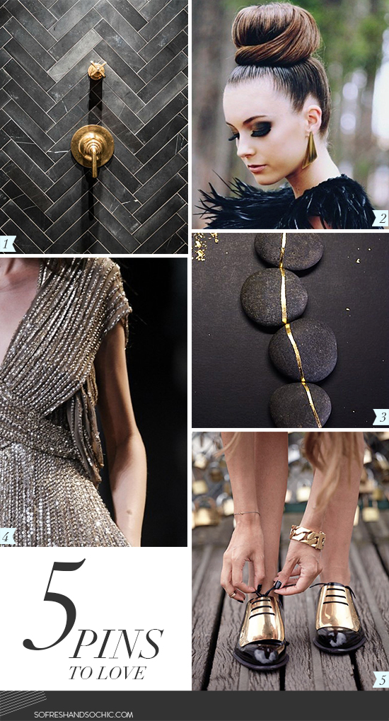 So Fresh & So Chic // Black and Gold Inspiration on 5 Pins to Love #sofreshandsochic #lifestyleblog #design #inspiration