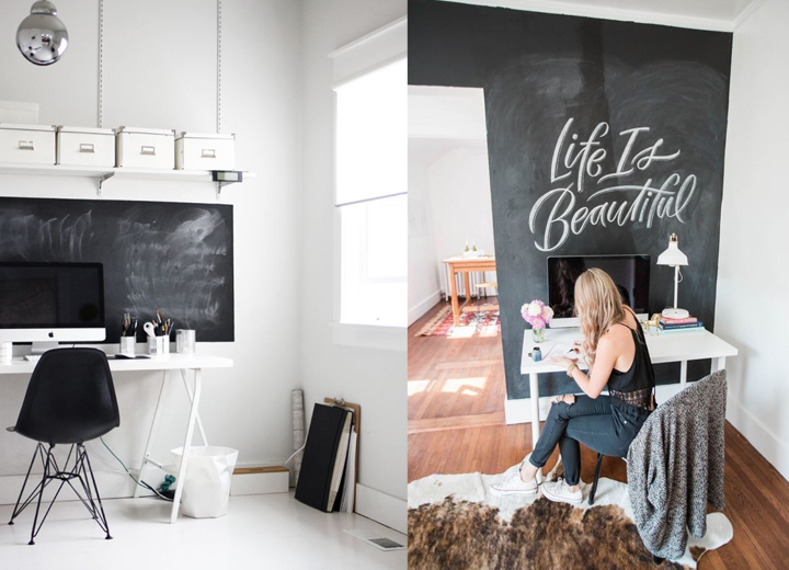 So Fresh & So Chic // 7 Fabulous Ways to Dress the Walls Behind Your iMac! 13 Inspiring Home Offices Show You How. #decor #sofreshandsochic #interiordesign