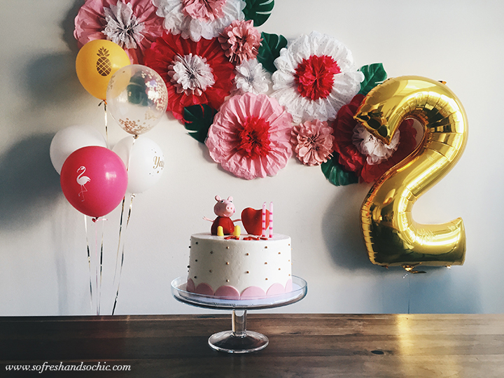 So Fresh & So Chic: A Lifestyle & Design Blog // A Peppa Pig Birthday Cake, Flamingos and Pineapples, and home made pinwheel flowers make for a fun, fresh birthday party for a little girl!