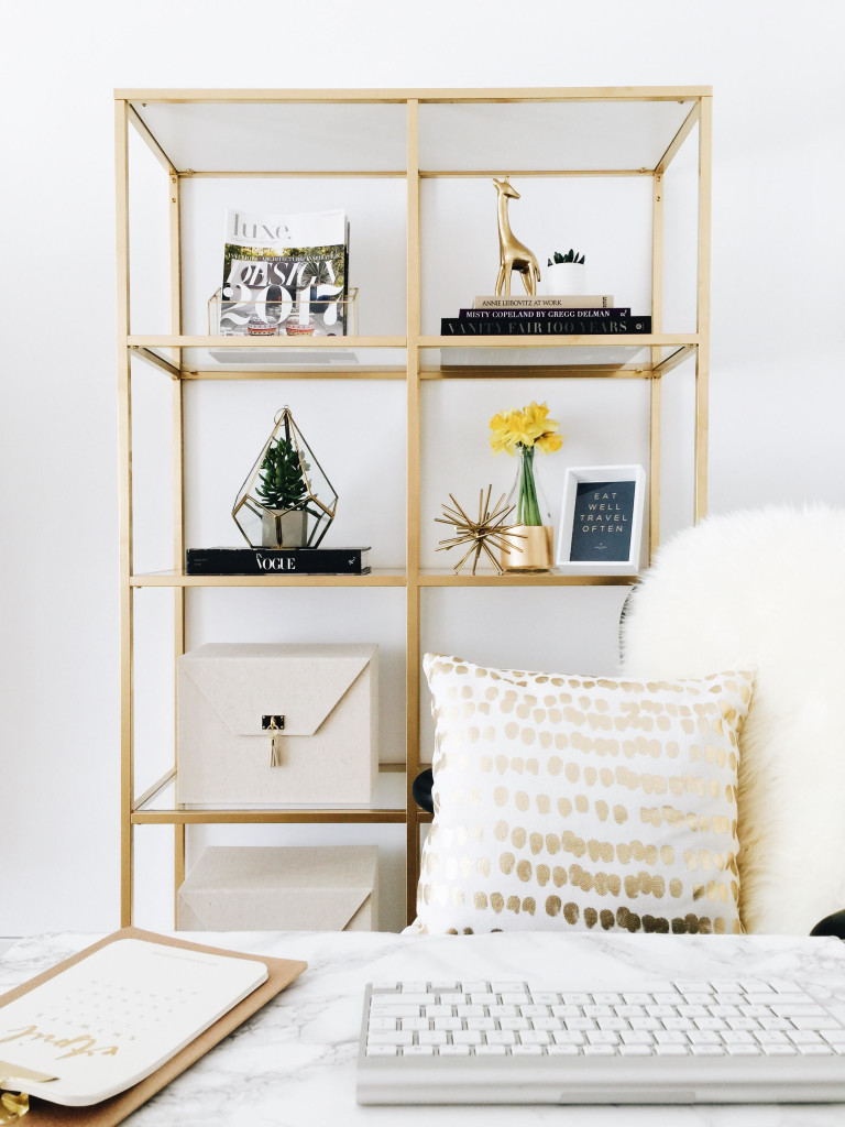 Friday Finds Vol. 20: Ikea Hack! Styling Vittsjo Shelves in a Glamorous, Feminine Home Office! #sofreshandsochic #diyhomedecor #homeoffice #targetstyle