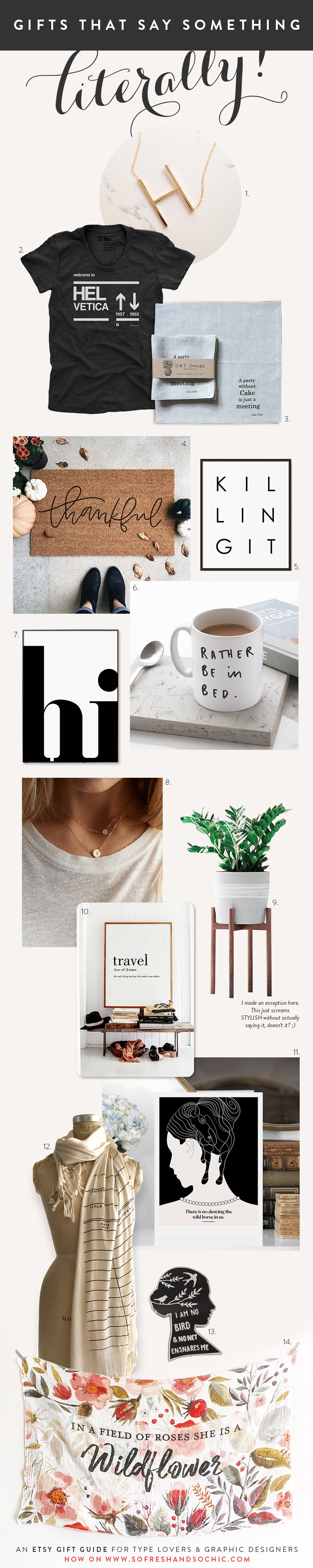 So Fresh and So Chic // An Etsy Gift Guide for Type Lovers and Graphic Designers #giftguide #etsygifts #sofreshandsochic #typography
