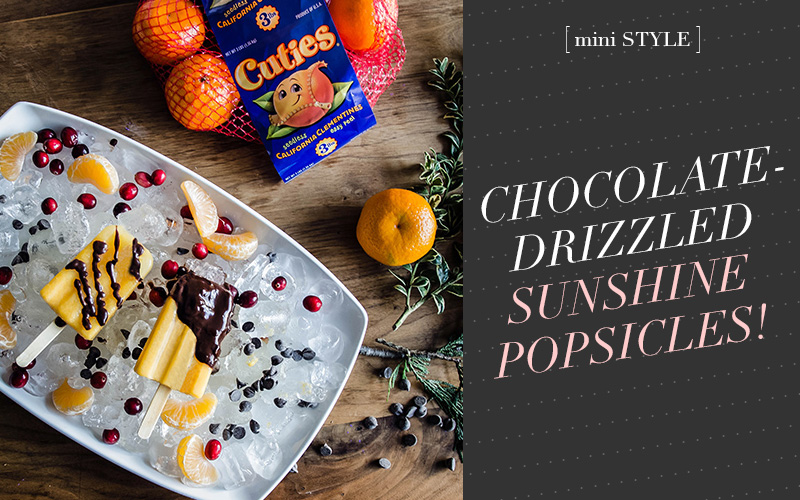 So Fresh & So Chic // Chocolate-Drizzled Sunshine Popsicles! #cuties #easyrecipe #cookingwithkids