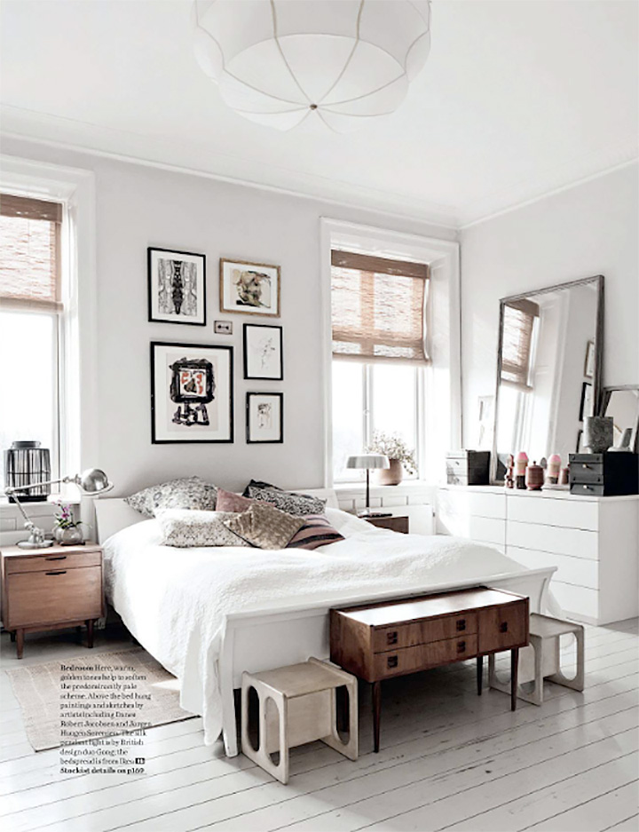 So Fresh & So Chic // White floors in white bedroom with wood accents. - #homedecor #interiordesign #whiteinterior #sofreshandsochic