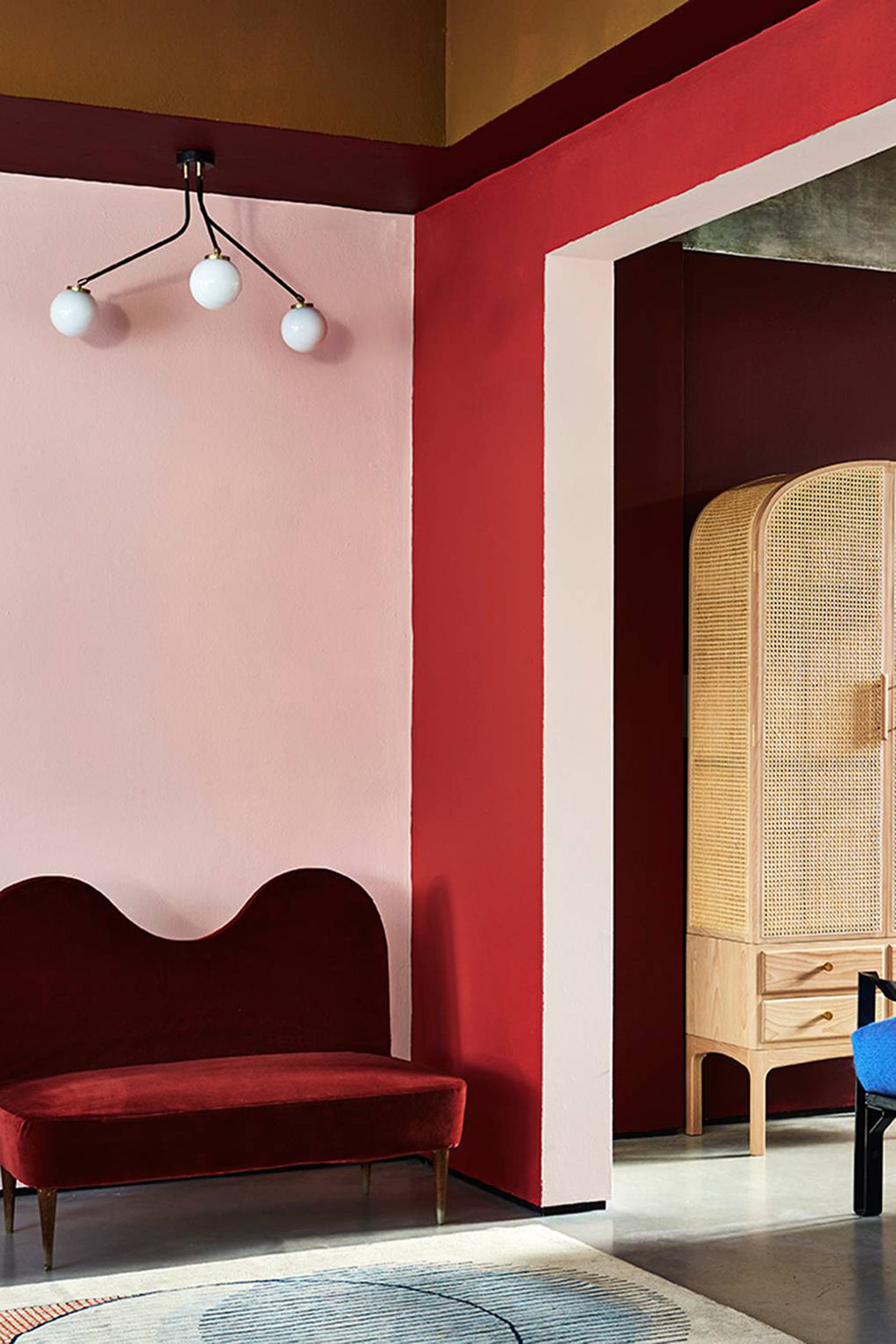 So Fresh & So Chic // Pink and Red Interiors // Vintage 60's inspired room with colour blocked red, pink, maroon and mustard walls