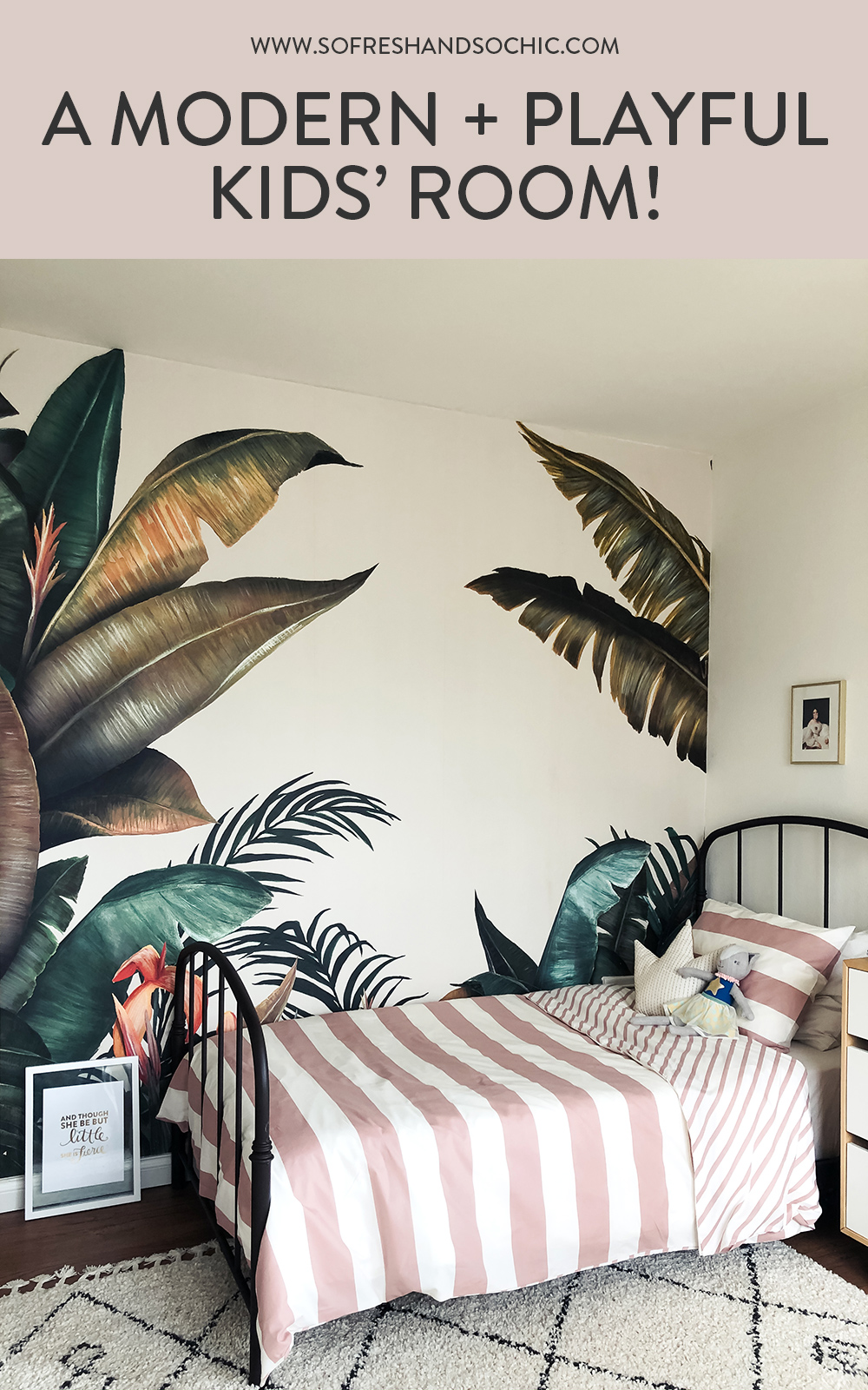 A Modern and Playful Kids room featuring Photowall Tropical Wallpaper
