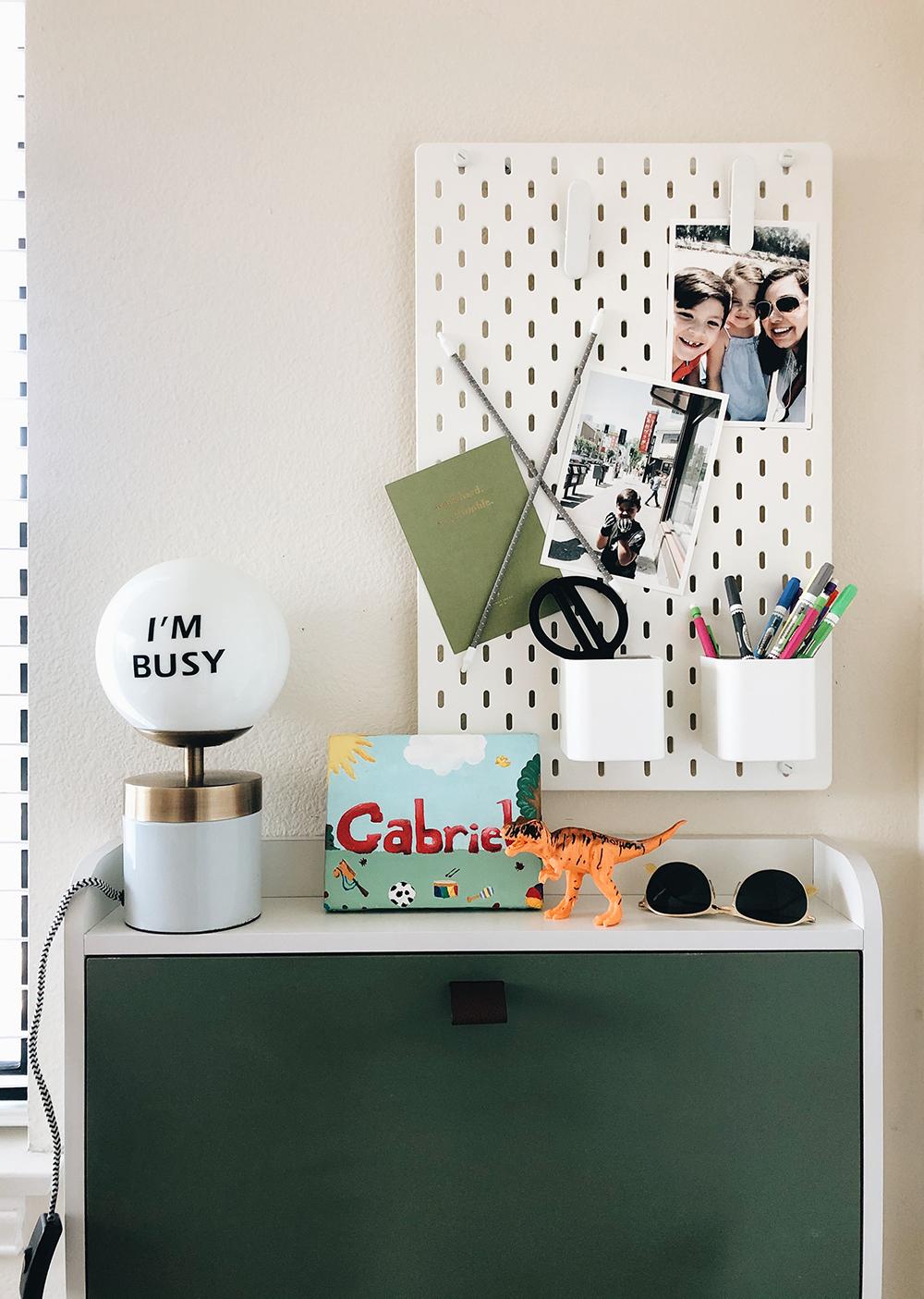 Ikea Skadis pegboard and organizers // Wall mounted desk // Space saving kids workspace!