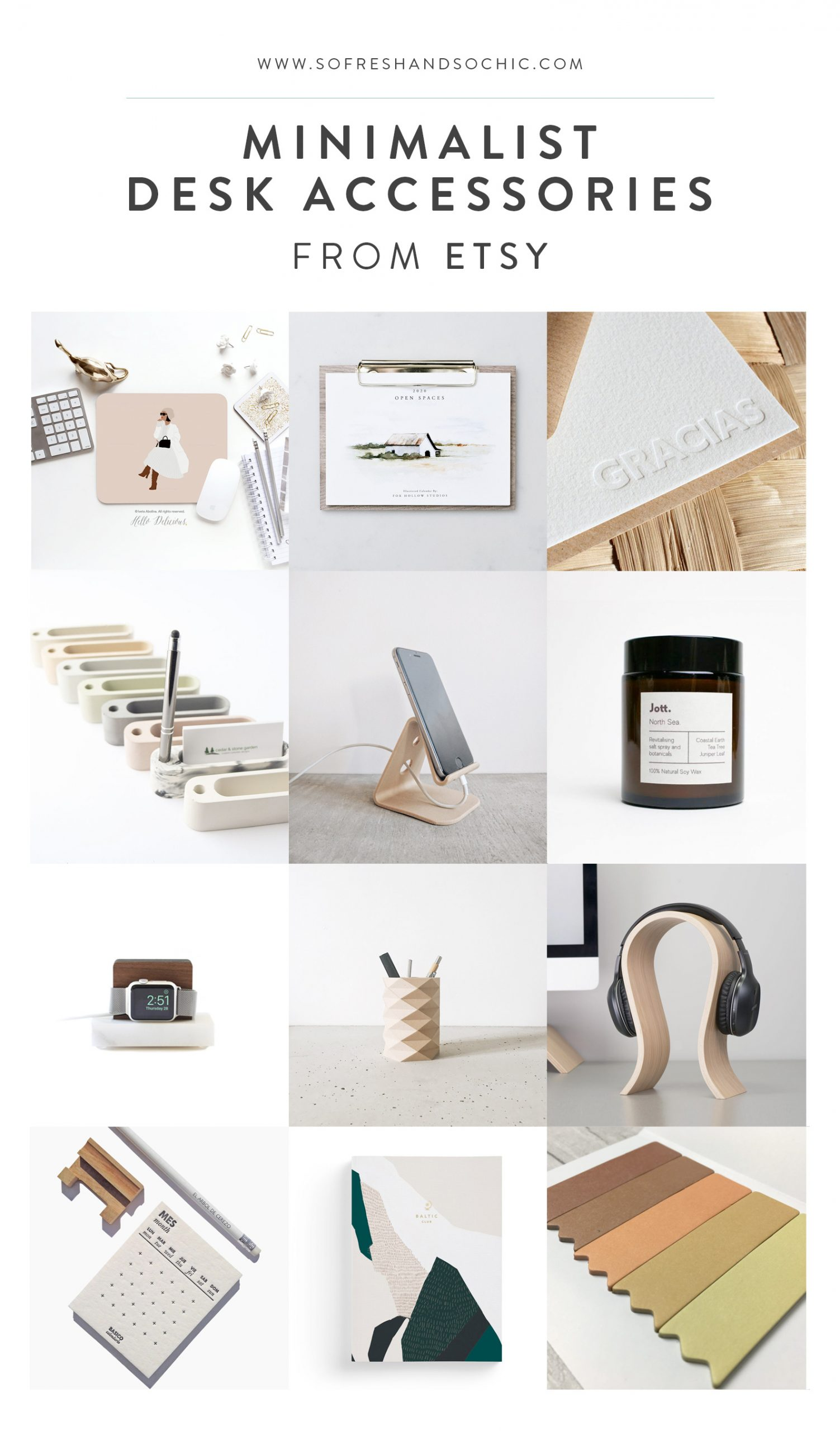 A Master List of 60+ Minimalist Desk Accessories from Etsy! // So Fresh & So Chic