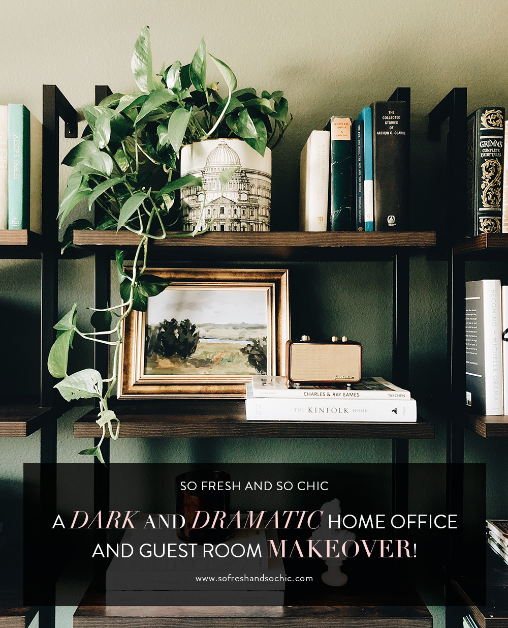 A Dark and Dramatic Home Office and Guest Room Makeover